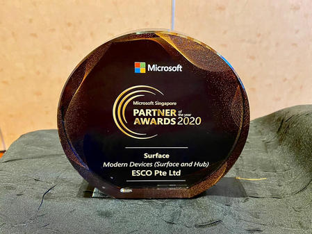 ESCO wins Microsoft Singapore Partner of the Year Award 2020 for Surface Modern Devices