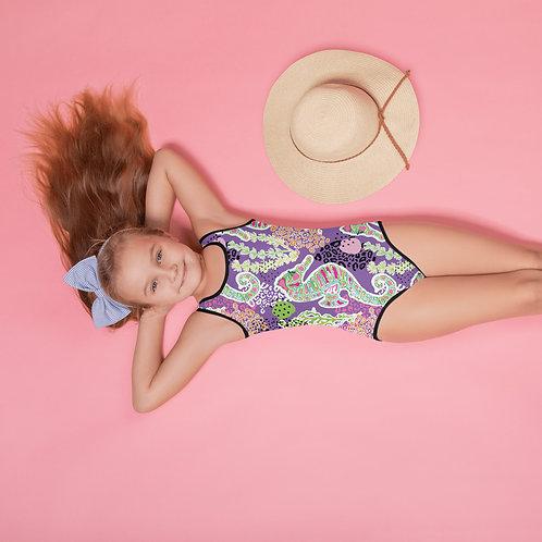 """Horsing Around"" Purple- All-Over Print Kids Swimsuit"