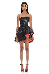 Eliya the Label, Emma Strapless Mini Dress with Vivid Coral Lining   Black