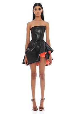 Eliya the Label, Emma Strapless Mini Dress with Vivid Coral Lining | Black