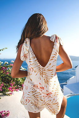 Le-Salty Label, Sienna Romper with Low Back Detail  | Sunset Bloom