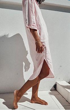 Sndys the Label, Bella Linen Long Sleeved Shirt Dress | Baby Pink
