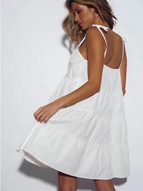 Sndys the Label, St Tropez Mini Dress with Adjustable Tie Straps | White