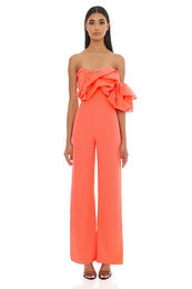 Eliya the Label, Layla Strapless Wideleg Pantsuit   Vivid Coral