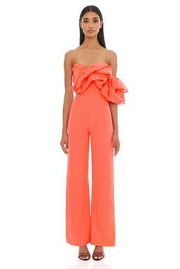 Eliya the Label, Layla Strapless Wideleg Pantsuit | Vivid Coral