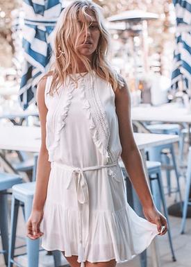 Three of Something, Sea Salt Sleeveless Mini Dress with Bodice Detail | White