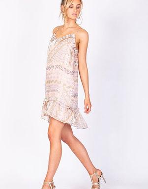 Three of Something, Lovina Paisley Print Mini Dress with Frill Detail | Pink