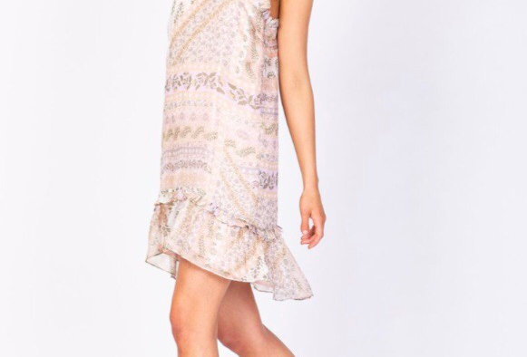 Three of Something, Lovina Paisley Print Mini Dress with Frill Detail | Pink