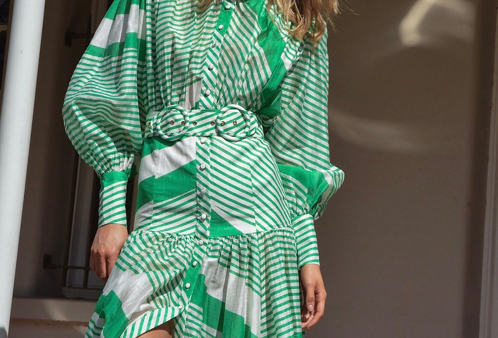Mackenzie Maxi, Long Sleeved Belted Maxi Dress   Green and White