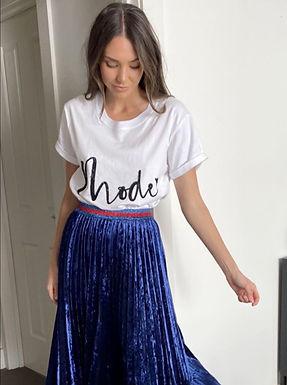 Mackenzie Mode, Himalaya Velvet Midi Skirt with Red Detail Waist Band | Blue