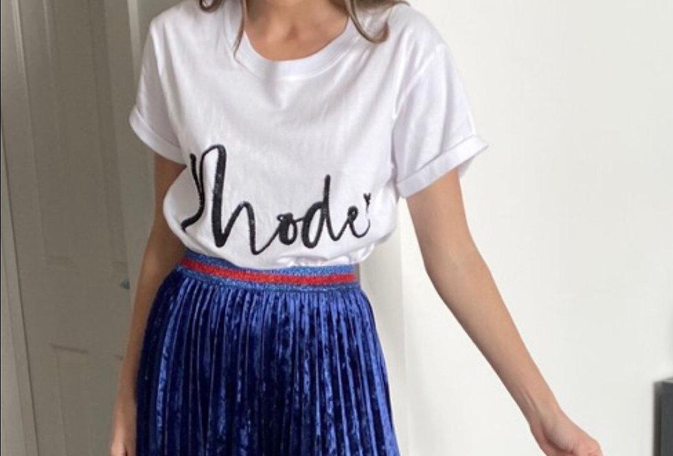 Mackenzie Mode, Himalaya Midi Skirt with Detail Waist Band | Blue Velvet