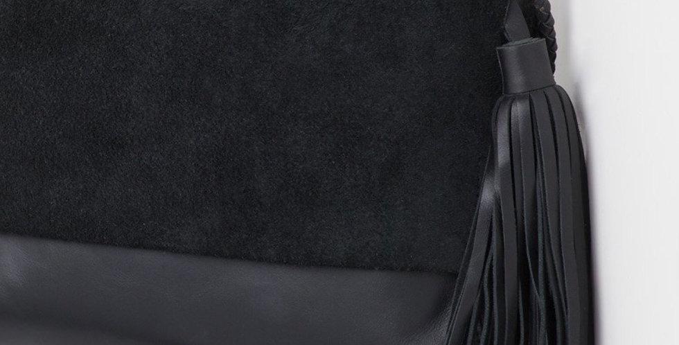 Ovae, Perla Suede Leather Bag | Black