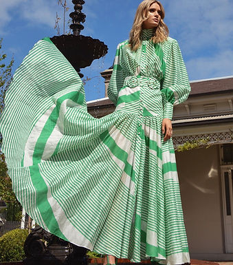 Mackenzie Maxi, Long Sleeved Belted Maxi Dress | Green and White