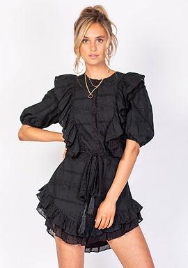 Three of Something Pier Huntington Mini Dress with Elastic Puff Sleeves | Black