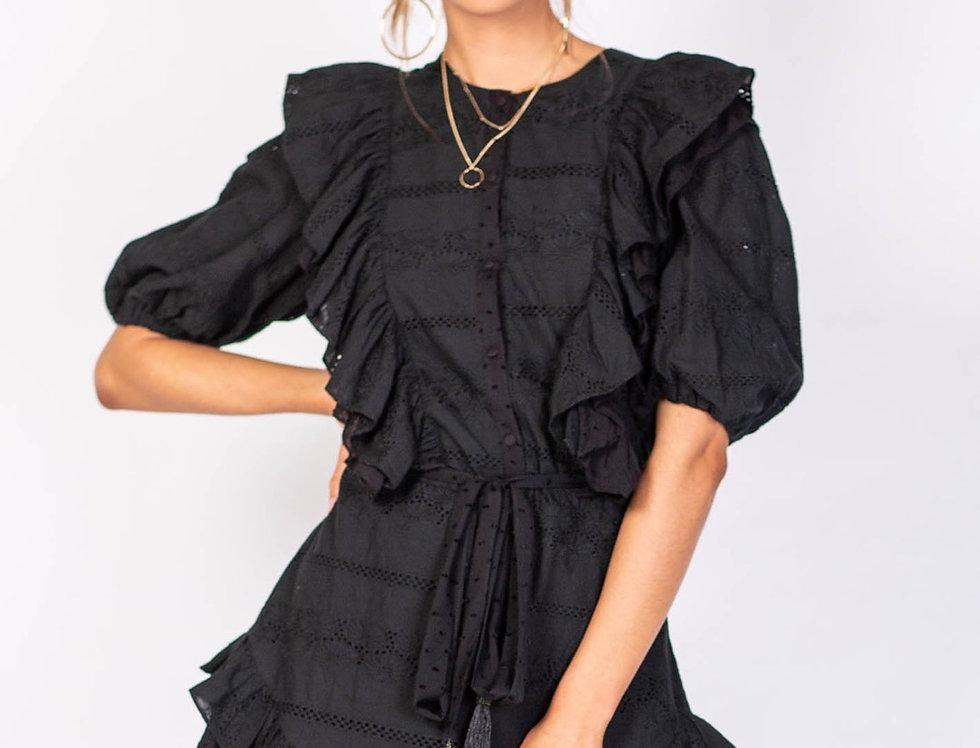 Three of something, Pier Huntington Mini Dress with Elastic Puff Sleeves | Black