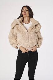Alexandra, Jetson Fleece Jacket with Waistband and Detachable Hood   Beige
