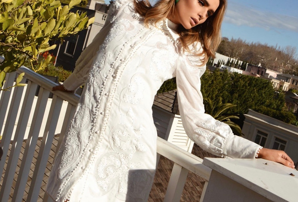 Mackenzie Mode, Long Sleeved Topiary Mini Dress | Winter White