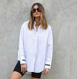 Alexandra, Austin Cotton Button Up Shirt with Brand Detailing   White