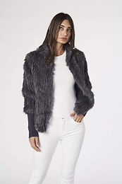 Alexandra, Tetto Fur Jacket with Ribbed Sleeves and Front Closer Clasps   Grey