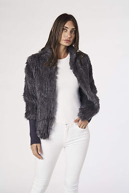 Alexandra, Tetto Fur Jacket with Ribbed Sleeves and Front Closer Clasps | Grey