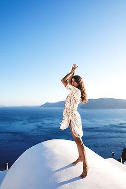 Le-Salty Label, Long Sleeved Sienna Shirt Dress   Sunset Bloom