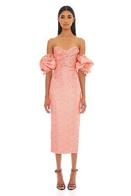 Eliya the Label, Tiana Midi Strapless Dress with Balloon Sleeves   Vivid Peach