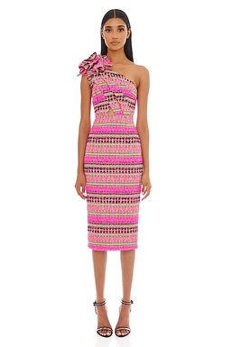 Eliya the Label, Dahlia Tweed One Shoulder Detail Midi Dress | Pink Multi