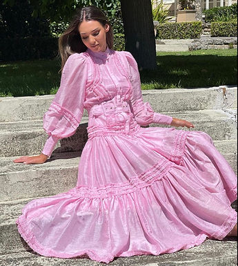 Mackenzie Mode, Long Sleeved, Belted Starlet Maxi Dress | Pink