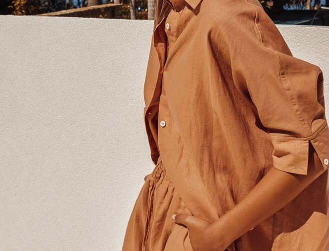 Sndys the Label, Bella Linen Shirt with Three Quarter Sleeves | Terracotta