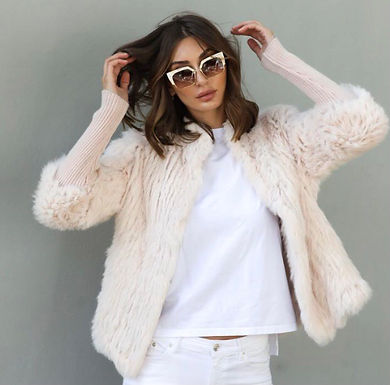 Alexandra, Tetto Fur Jacket with Ribbed Sleeves and Front Closer Clasps   Blush