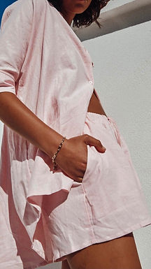 Sundays the Label, Bella Linen Shirt with Three Quarter Sleeves | Baby Pink