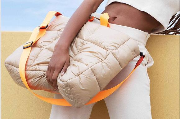 First Base X Urban Status  Fashionably Sporty XL Puff Tote Bag | Dune
