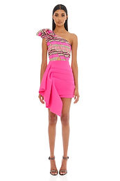 Eliya the Label, Jacinta Mini Dress with One Shoulder Neckline Detail   Pink