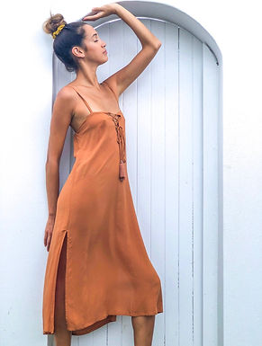 Love St, Joplin Midi Dress with Spaghetti Straps | Honeycomb