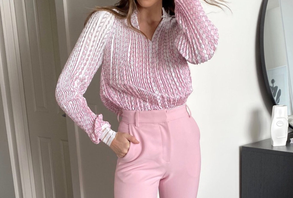 Mackenzie Mode, Baobab Pleated Blouse with Elasticised Cuffs and Hem | Pink