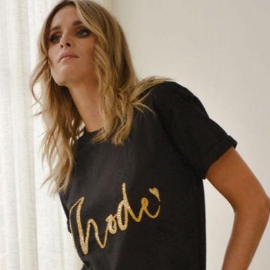 Mackenzie Mode, Beaded Motif T.Shirt | Black