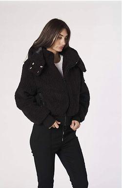 Alexandra, Jetson Fleece Jacket with waist Band and Detachable Hood | Black