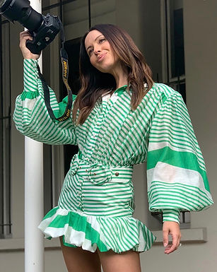Mackenzie Mode, Seeing Stars Long Sleeved Belted Mini Dress | Green and White