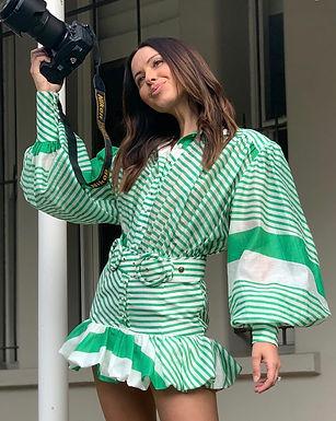 Mackenzie Mode, Seeing Stars Long Sleeved Belted Mini Dress   Green and White