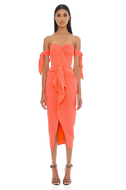 Eliya the Label, Yolanda Strapless Midi Dress with Ruffle Detail | Vivid Peach