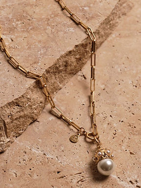 Alba Pearl Necklace | Gold