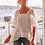 Thumbnail: Three of Something, Sunset Blouse with Three Quarter Puffy Sleeves | White