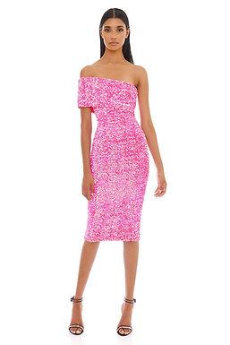 Eliya the Label, Alyssa Sequin One Shoulder Midi Dress | Pink