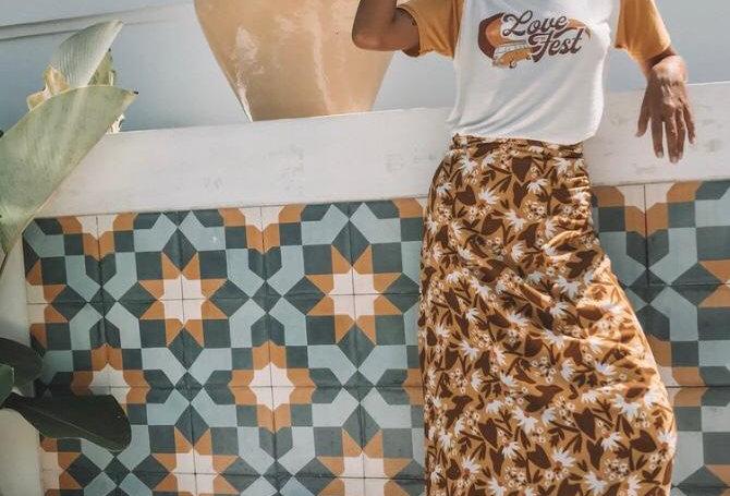 Love St, Babylon Wrap Skirt | Honeycomb