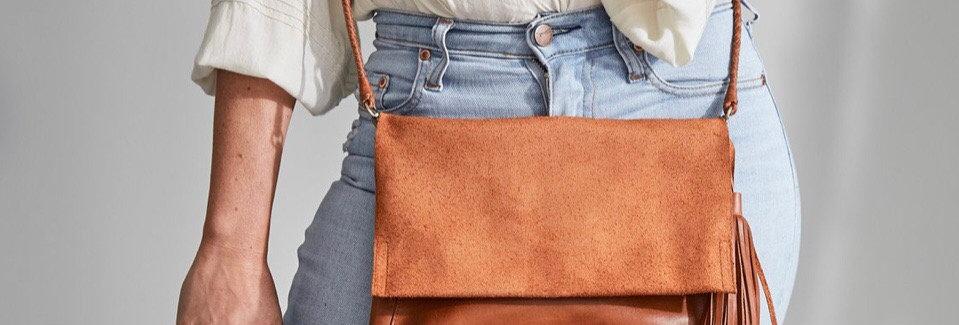 Ovae, Perla Suede & Leather Bag   Walnut