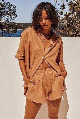 Sndys the Label, Elastic Waist Bella Linen Shorts | Terracotta