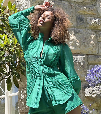 Mackenzie Mode, Long Sleeved Starlet Blouse with Soft Ruffle Detail   Emerald