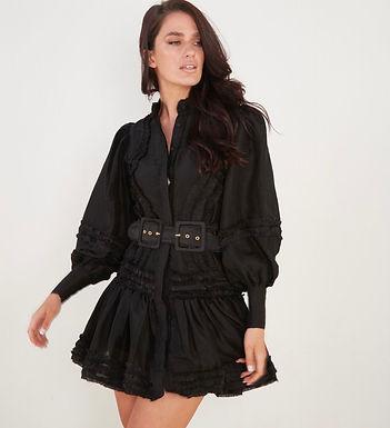 Mackenzie Mode, Starlet Long Sleeved Mini Dress with Ruffle Detail   Black