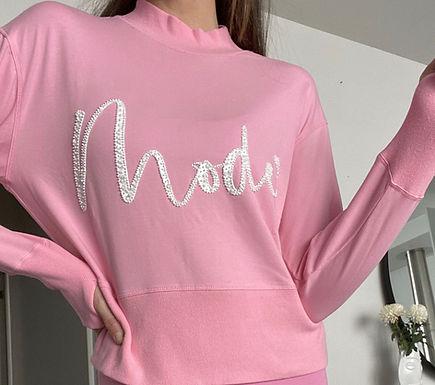 Mackenzie Mode, White Sequin Motif Mode Sweatshirt with Back Zip Detail | Pink