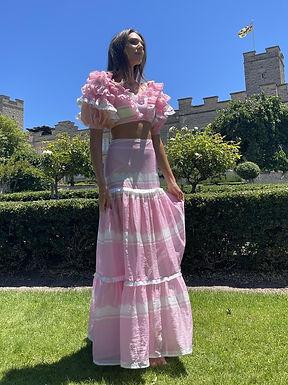 Mackenzie Mode, Storybook Maxi Skirt   Pink Strip